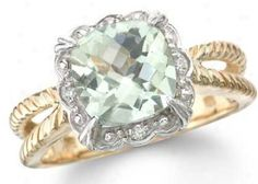 Green Amethyst Rings - 14k Two Tone Gold Diamond And Green Amethyst Ring 0.04 Cts.