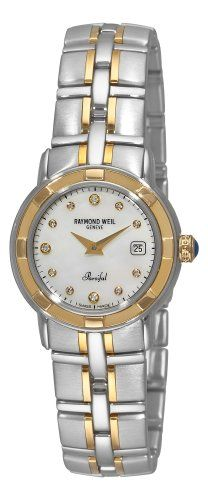 Raymond Weil Women's 9440-STG-97081 Parsifal Diamond Accented 18k Gold-Plated and Stainless Steel Watch * You can get additional details at the image link.