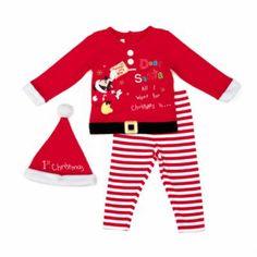Viste a tu pequeño como si fuera uno de los ayudantes de Papá Noel con este precioso conjunto navideño. El traje se compone de un jersey de manga larga con una imagen bordada de Mickey Mouse y un falso cinturón, un pantalón a rayas ¡y un sombrero a juego!