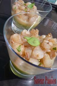 Tartare de crevettes à la renouée, gelée de yuzu, crème d'avocat - SAVEUR PASSION