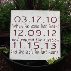Wedding Signs, Important Date Sign