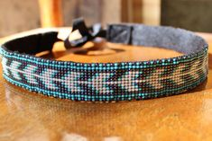 Turquoise Beaded Headband with Native American Pattern and Black Ribbon Tie on Etsy, $20.00