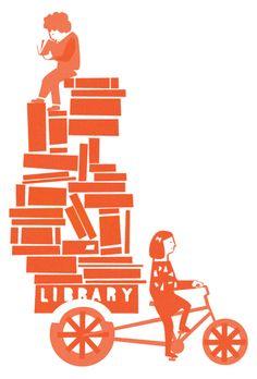 Me voy a la playa con la bibliobicicleta (ilustración de Rhona Garvin)