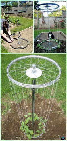 DIY Bike Wheel Trellis Instruction - DIY Ways to Recycle Bike Rims