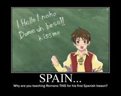 "Spain teaching Romano how to say ""kiss me"" in Spanish"