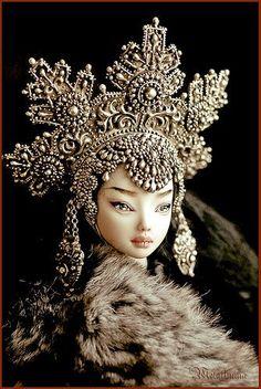 The Enchanted Doll in kokoshnik and fur, Siberian look by Marina Bychkova