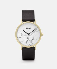 Ladies Cluse La Roche Leather Watch is available at Goldsmiths to buy online in our range of Watches. Second Hand Shop, Marble Watch, Cluse, Gold Armband, Black And White Marble, Leather Jewelry, Matte Gold, Black Leather, Jewels