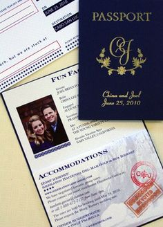 Travel themed wedding with passport invitations--- this would be cool for a destination wedding.