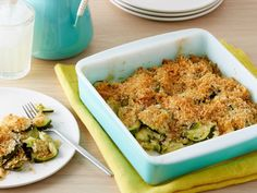 Parmesan cheese and breadcrumbs top off Sunny's delicious baked zucchini.