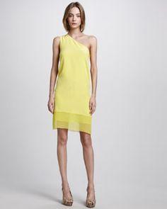 T4SZ5 Tibi Hannah Silk One-Shoulder Dress