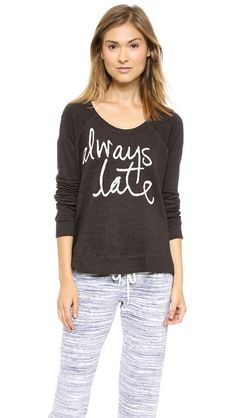 SUNDRY Always Late Cropped Pullover