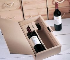 Caja para dos botellas serigrafiada