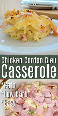 Easy Chicken Cordon Bleu Casserole Easy Chicken Cordon Bleu Casserole is made with chicken and ham tossed in a low carb creamy dijon sauce and then topped with swiss cheese! Hearty - healthy family dinner recipes! This casserole dinner idea is low carb and makes great leftovers too!   #lowcarb #lowcarbrecipes #chickencordonbleu #chickenrecipes #chicken #mealswithchicken #dinnerideas #hearty #casserole #dinnerideas #food #recipes<br> Easy Chicken Cordon Bleu, Chicken Cordon Blue Casserole, Cordon Bleu Casserole, Leftover Chicken Recipes, Easy Chicken Dinner Recipes, Low Carb Dinner Recipes, Low Carb Easy Dinners, Leftover Chicken Casserole, Chicken Leftovers