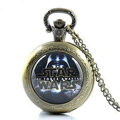 Glorio Vintage Star Wars Figures Antique Pocket Watch Charm Pendant Necklace Prop Men Women Gift Necklace Quartz Chain Retro