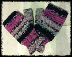 Ravelry: deliknits' Sweetpea Fingerless Mitts I have more self-striping and self-patterning sock yarn than you can shake a stick at. Or even TWO sticks. Here is a good way to use it up - no need for a pattern - so simple and so effective.