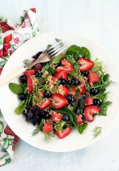 Quinoa salad with blueberries, strawberries and mint. ( for this, I'd skip the oil and just use the lime juice for the dressing-way too much oil for a salad!)