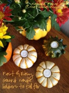 Would be a cute party favor for an eco-chic baby shower. Only 15 minutes to gourd candle holders from natural maker mom at Satsuma Designs #baby #design #shower