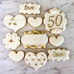 50th Anniversary Cookies, 50th Wedding Anniversary Cakes, Anniversary Parties, 50 Anniversary, Royal Icing Cookies, Sugar Cookies, Wedding Cookies, Cookie Decorating, Sweet