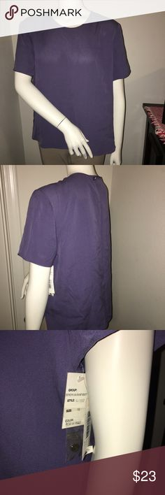 """Women's due per due periwinkle blouse NWT SZ: 16 Thank you for viewing my listing, for sale is a women's, Due' per due' collection, periwinkle, short sleeve, top/blouse.  Sz: 16 NWT 100% silk  If you have any questions or would like additional photos please feel free to ask.  From under one arm to under the other measures appx 23"""" from the top of the shoulder to the bottom of the shirt measures appx 23"""" due per due Tops Blouses"""