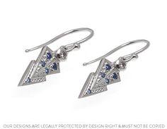 Eloise's beautiful bespoke palladium diamonds and sapphire earrings