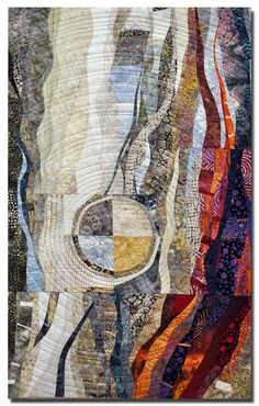 """Mutual Attraction"" by Hilde Morin. 23"" x 40"". Curved piecing, commercial fabrics, hand dyes, machine quilted"