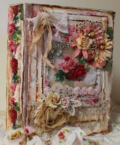Today I'm sharing a super shabby altered book box. I have created some fun inside the box with the intent that it be displayed upright on my nightstand. I just love how it came out, and I can't stop looking at the inside. All of the papers as well as the tags and images inside the box, are part of the printable digital paper kit called Paris in My Heart by Ephemera's Vintage Garden.
