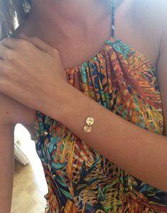 Two Round Gold Dics Initial Bracelet, Two Initial Bracelet, Personalized Initial Bracelet, Mom Sister Jewelry, Monogram Bracelet