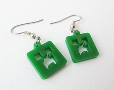 Minecraft creeper earrings