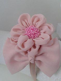 tiara flor com laço
