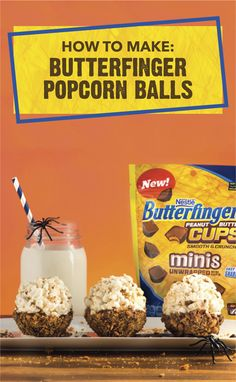 A little salty, a little sweet, these Butterfinger Popcorn Balls are a spookily good Halloween treat. Dip homemade popcorn balls in melted chocolate. Then, add BUTTERFINGER® Peanut Butter Cup Minis and BUTTERFINGER® Fun-Size candy bars to give this easy dessert recipe that crispety, crunchety, peanut-butter taste that you know and love. Click here to learn more.