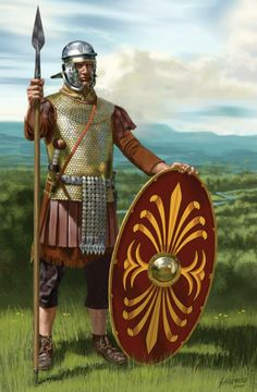 "The Lorica hamata is the chainmail of Celtic diverivazione used by the legionaries the Roman army. According to Varro, the origin of this type protection is Celtic. ""Lorica, quod de loris and chorio raw pectoralia faciebant; postea subcidit Gallic and iron sub id Vocabulum, former anulis iron tunic. ""(Varro - De Latin Language - Liber V - 24, 2)"