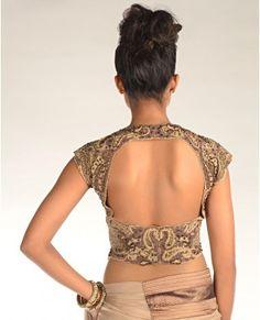 back of cap sleeve sari blouse