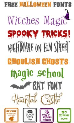 These Halloween fonts are great for making party place-cards, gift tags, decorative signs, banners, you name it! Free Fonts for Halloween Free Fonts For HalloweenFree Dingbats For Fa. Halloween Fonts, Holidays Halloween, Halloween Halloween, Halloween Poster, Halloween Cards, Fancy Fonts, Cool Fonts, Type Fonts, Alphabet Police