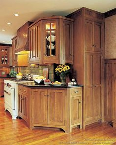 #Kitchen Idea of the Day: Craftsman Kitchens. (By Crown Point Cabinetry). Interesting angled corner there.