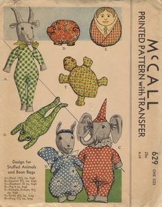 McCall 1930s Sewing Pattern Rare Stuffed Animals Baby Toys Soft Bean Bag Dolls Goat Elephant Frog Turtle Pig Humpty Dumpty
