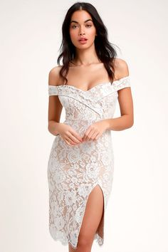 The Lulus Table for Two White Lace Off-the-Shoulder Midi Dress will have you looking like a snack! Sexy white and nude lace dress with an OTS neckline. Short Lace Wedding Dress, Gorgeous Wedding Dress, Nude Dress, White Midi Dress, Reception Gown, Wedding Reception, Glamorous Dresses, Affordable Wedding Dresses, Lace Sheath Dress