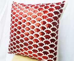 Red pillows with embroidered waves - Sashiko pillow covers- Red Cushion cover zipper -Throw pillow - gift pillow- - Red sequin pillows Red Throw Pillows, Red Cushions, Throw Pillow Covers, Decorative Throw Pillows, White Pillows, Sashiko Embroidery, Sequin Embroidery, Hand Embroidery, Red Cushion Covers