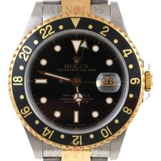 Pre-Owned 1991 Rolex GMT Master II Watch Two Tone With Black Dial and Black Bezel With Oyster Band Model 16713