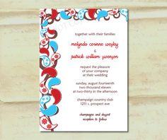 Wedding Invitation  Paisley in Aqua and Red by DaisyDesignShop, $2.25