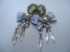 1970's Vintage Blue and White Cameo Post by GrannysInspirations, $16.98