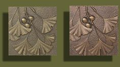 Bronze and copper tone Ginkgo tiles