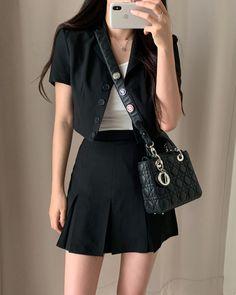 Korean Summer Outfits, Korean Outfit Street Styles, Korean Casual Outfits, Cute Casual Outfits, Stylish Outfits, Korean Girl Fashion, Ulzzang Fashion, Kpop Fashion Outfits, Girls Fashion Clothes