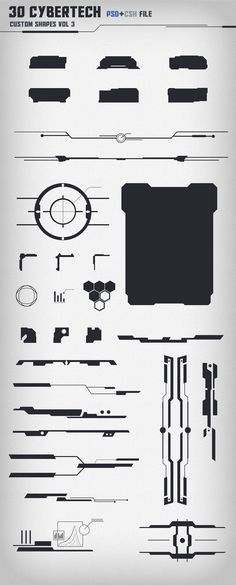 Due to Envato's rules, more than 30 shapes is not acceptable, hence the split. Price is split too. 30 Shapes, with futuristic look. Sizes can be adjuste. 30 Cybertech Shapes Vol. Web Design, Game Ui Design, Logo Design, Graphic Design, Rpg Cyberpunk, Cyberpunk Tattoo, Ui Elements, Design Elements, Interface Design
