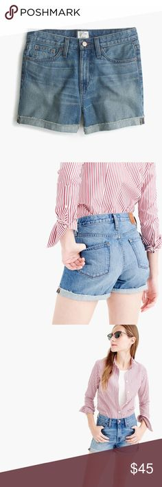 J. Crew High-Rise Broken-In Boyfriend Shorts NWT! No damages. Excellent quality and on trend. Meadow wash denim. J. Crew Shorts Jean Shorts