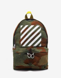 Diagonal Stripe Print Camouflage Backpack