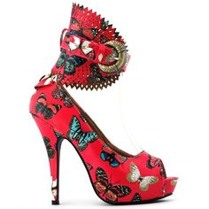 wildly wonderful red butterfly pumps with gold buckle www.finditforweddings.com red shoes