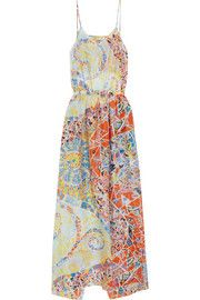 Printed hammered-silk dress