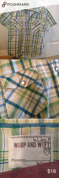 Plaid and pearl buttons Classic western shirt warp and weft Shirts Casual Button Down Shirts