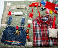 Masculine style Overals and Plaid shirt Fidget, Sensory, Activity Quilt Blanket by TotallySewn on Etsy