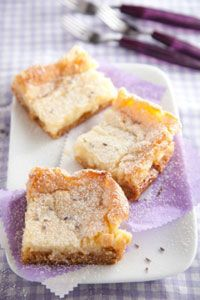 Lemon Lavender Gooey Butter Cakes  This dessert is so easy to make. Sweet and ooey-gooey, the floral lavender and tart lemon are a wonderful combination.